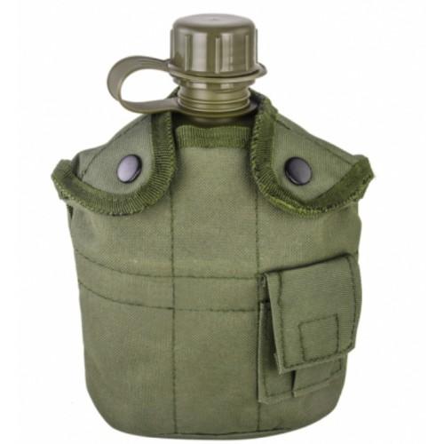 Армейская фляга с кружкой-котелком в чехле в цвете олива