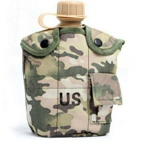 Армейская фляга с кружкой-котелком в чехле камуфляжа Мультикам