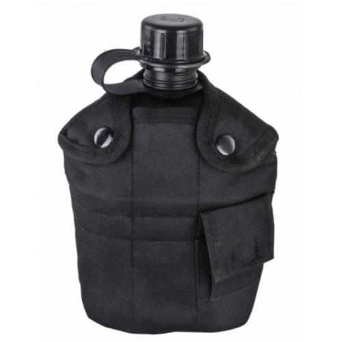 Армейская фляга с кружкой-котелком в чехле черного цвета