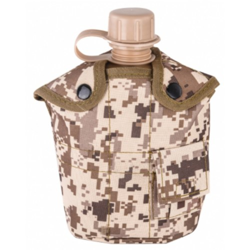 Армейская фляга с кружкой-котелком в чехле камуфляжа Желтая Цифра