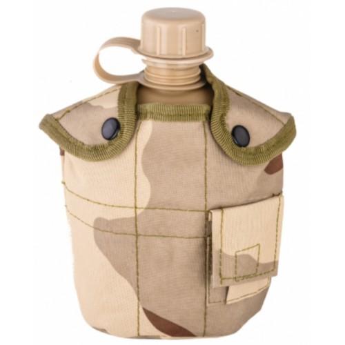 Армейская фляга с кружкой-котелком в чехле камуфляжа Буря в Пустыне