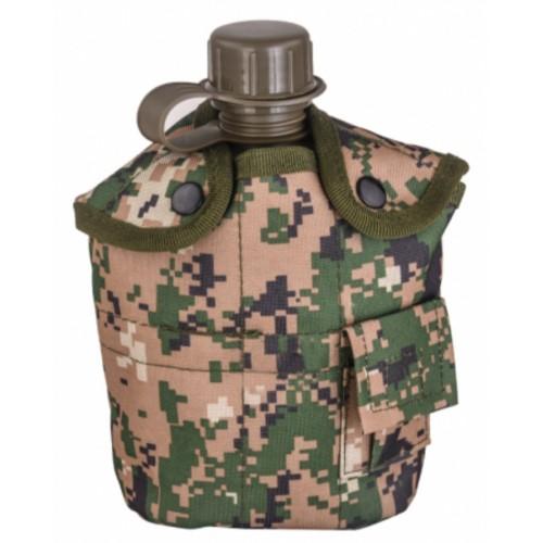 Армейская фляга с кружкой-котелком в чехле камуфляжа Marpat Digital Woodland