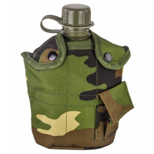 Армейская фляга с кружкой-котелком в чехле камуфляжа Woodland